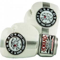Boxerské rukavice Yokkao Official Fight Team stříbrná, bílá 10oz