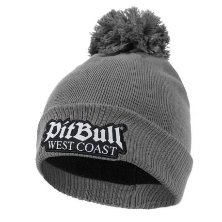 PitBull_West_Coast_zimní_pletená_čepice_s_bambulí_Old_Logo_šedá