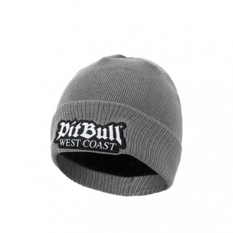 PitBull_West_Coast_zimní_pletená_čepice_Old_Logo_šedá