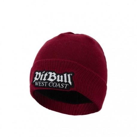 PitBull_West_Coast_zimní_pletená_čepice_Old_Logo_burgundy