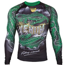 Rashguard Venum Crocodile černá, zelená dlouhý rukáv M